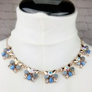 Blue|Rose Gold Glass Crystal Statement Necklace